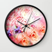 roses Wall Clocks featuring Roses  by Saundra Myles