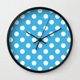 Cerulean and Polka White Dots Wall Clock
