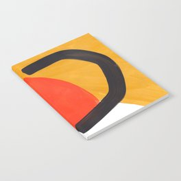 Minimalist Abstract Colorful Shapes Yellow Orange Black Mid Century Art Notebook