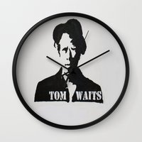 tom waits Wall Clocks featuring Tom Waits Painting by All Surfaces Design