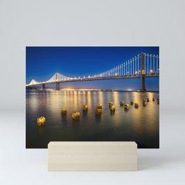Bay Bridge At Night, San Francisco Mini Art Print