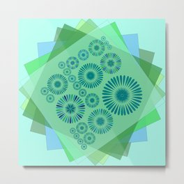Tiles in teal and mint Metal Print
