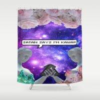 satan Shower Curtains featuring SATAN SAYZ by Saturos