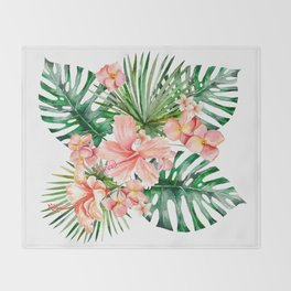 Tropical Jungle Hibiscus Flowers - Floral Throw Blanket