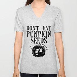 funny halloween pregnant mom don't eat pumpkin seeds Unisex V-Neck