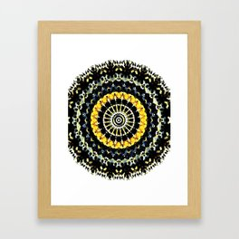 Mandala - Black and Yellow Framed Art Print