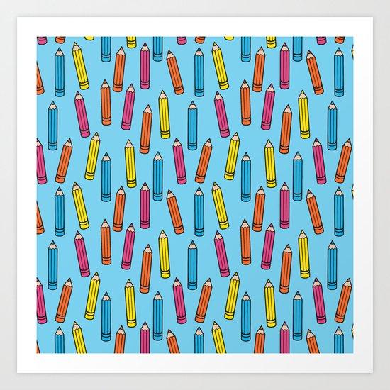 Pencil Party Blue Art Print