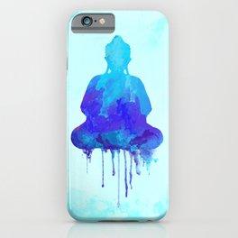 Watercolor zen Buddha blue iPhone Case