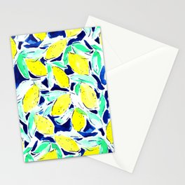Bold Lemons Blue Stationery Cards