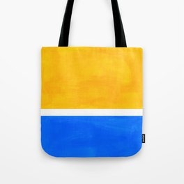 Primary Yellow Cerulean Blue Mid Century Modern Abstract Minimalist Rothko Color Field Squares Tote Bag