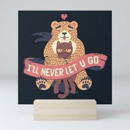 Ill Never Let You Go Bear Love Cat Mini Art Print