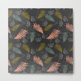 Modern botanical: fern leaves and dill flowers pattern Metal Print