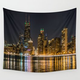 Chicago North Shore Skyline Night Wall Tapestry