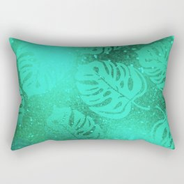Neon Green Tropical Jungle Leaves Pattern Rectangular Pillow