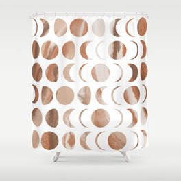 Pastel Moon Phases - Marble Shower Curtain