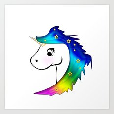 Unicorn and Stars Art Print