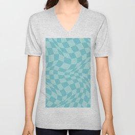 Warped Checkered Pattern in Aqua Mint Ocean Blue, Trippy Check Liquid Swirl, Wavy Checkerboard Unisex V-Neck