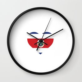 Costa Rica  love flag heart designs  Wall Clock