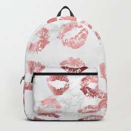 Fashion Lips Rose Gold Lipstick on Marble Backpack