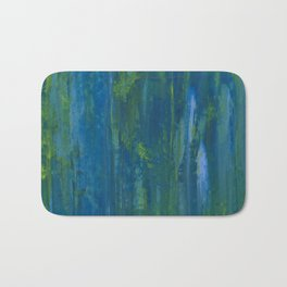 Push & Pull - Abstract in Blue, Yellow, Green Bath Mat