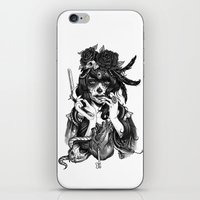 city iPhone & iPod Skins featuring Chicana by Rudy Faber