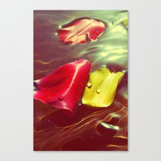 Lomo Vintage Flower Petals on Water Canvas Print