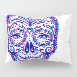 Sugar Skull (Calavera) Chromatic Aberration - Cyan Magenta Pillow Sham