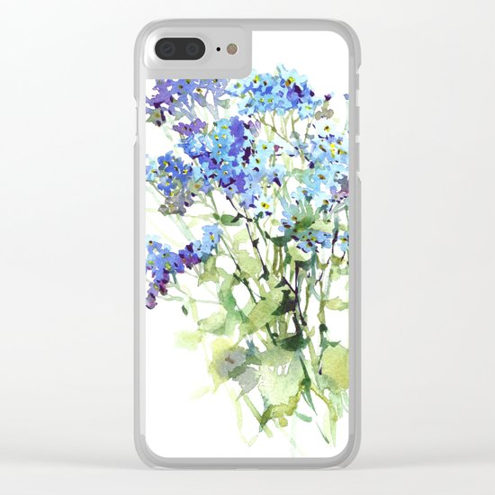 Forget-me-not watercolor aquarelle flowers Clear iPhone Case