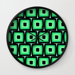 Mod Green Squares Wall Clock