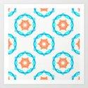 Blue & Orange Stamped Tile Pattern by tanyalegere