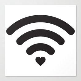 Love & WiFi - Black & White Canvas Print