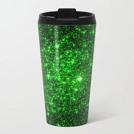 gAlAXy Green Sparkle Stars Travel Mug