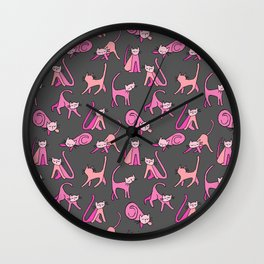 kitty kat (pink on gray) Wall Clock