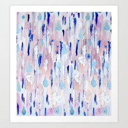 Abstract Painting Blue Pink Copper Art Print