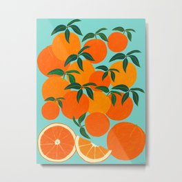 Orange Harvest - Blue Metal Print