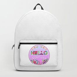 Hello Spring, Flowers, circle Backpack