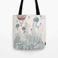 hot Tote Bags featuring Voyages Over New York by David Fleck
