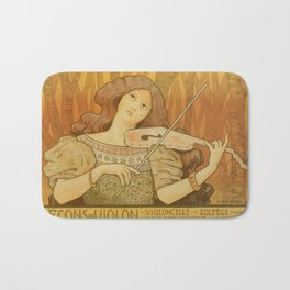 Violin lessons vintage French advertising Bath Mat