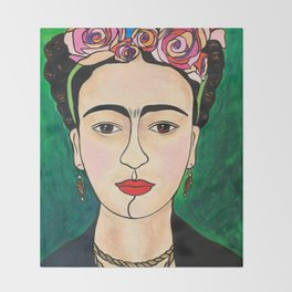 Frida Khalo Portrait Throw Blanket