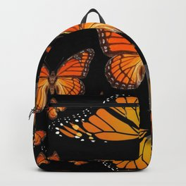 ABSTRACT ORANGE MONARCH BUTTERFLIES BLACK  PATTERNS Backpack