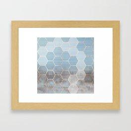 honeycomb winter forest // copper & blue Framed Art Print