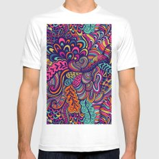 multi colored waves Mens Fitted Tee White MEDIUM