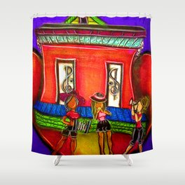 Heart Girl Zydeco Band Shower Curtain
