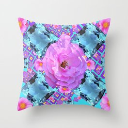 PINK ROSES & AQUA MARCH GEMS ART Throw Pillow