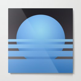 Stylized illustration of sunset in blue and dark grey Metal Print