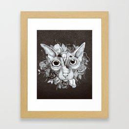 Kitty's Pretty Floral Mane Framed Art Print