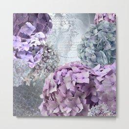 Purple Vintage Flower Hydrangea Hortensia Collage Metal Print