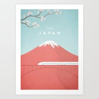 travel poster Art Prints featuring Vintage Japan Travel Poster by Travel Poster Co.