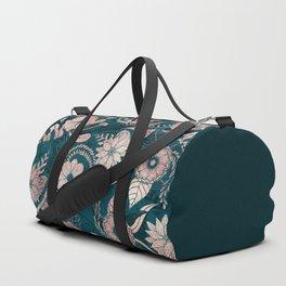 Artsy Modern Rose Gold Emerald Green Flowers Duffle Bag
