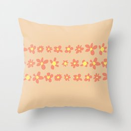 Daisy Chain in Oranges Throw Pillow